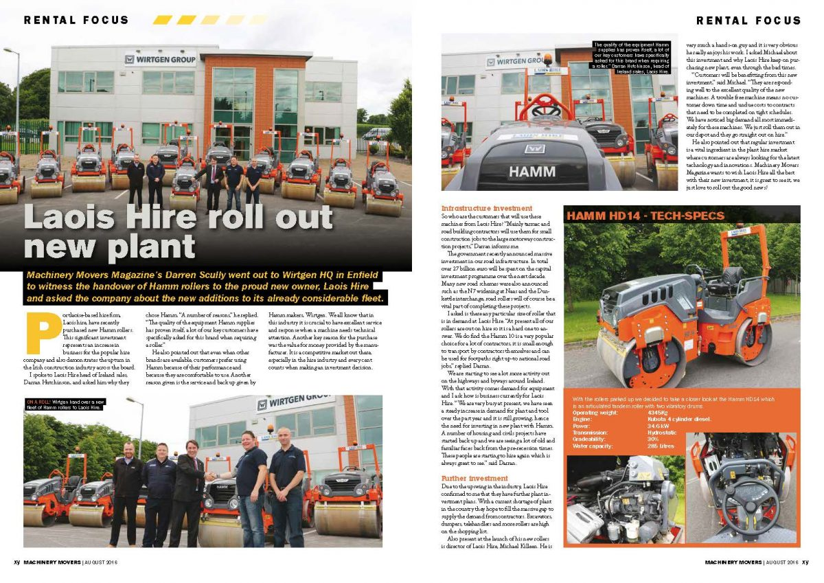 Laois Hire & Hamm in Machinery Movers Magazine
